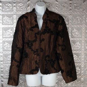 Maggy London Brown Floral Brocade Jacket Size 12